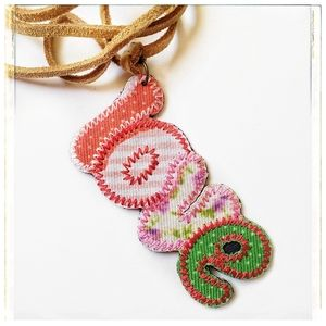 handmade embroidered love necklace